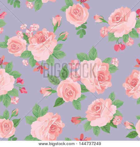 Floral bouquet seamless pattern. Flower rose posy background. Floral ornamental texture with flowers. Flourish tiled pattern