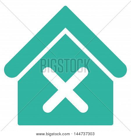 Wrong House icon. Glyph style is flat iconic symbol, cyan color, white background.