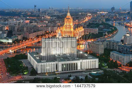 Building of the Government of the Russian Federation in Moscow at evening (White House the view from the top)