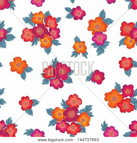 Floral bouquet seamless pattern. Flower posy on white background.