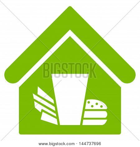 Fastfood Cafe icon. Glyph style is flat iconic symbol, eco green color, white background.