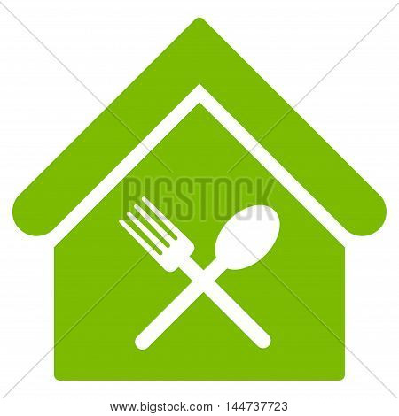 Food Court icon. Glyph style is flat iconic symbol, eco green color, white background.