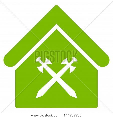 Guard Office icon. Glyph style is flat iconic symbol, eco green color, white background.