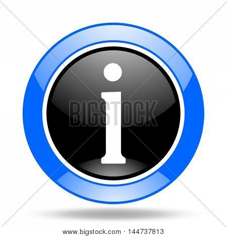 information round glossy blue and black web icon