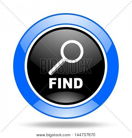 find round glossy blue and black web icon