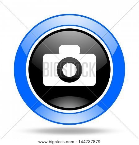 camera round glossy blue and black web icon