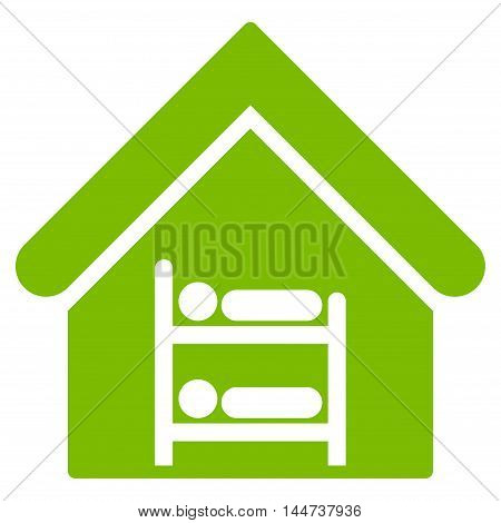 Hostel icon. Glyph style is flat iconic symbol, eco green color, white background.