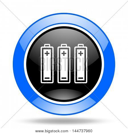 battery round glossy blue and black web icon