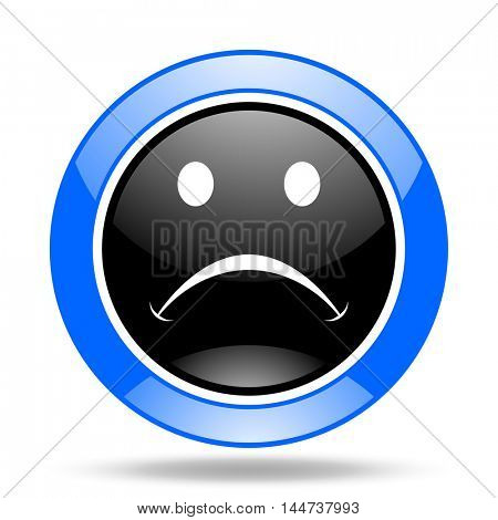 cry round glossy blue and black web icon