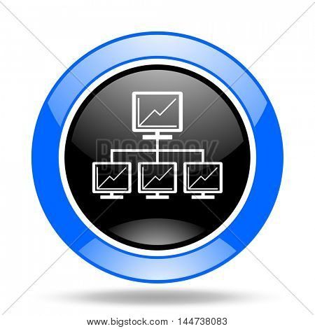network round glossy blue and black web icon