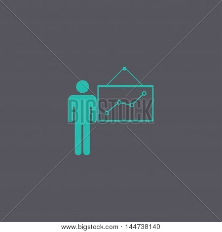 Presentation Sign Icon. Man Standing With Pointer. Scheme And Diagram Symbol