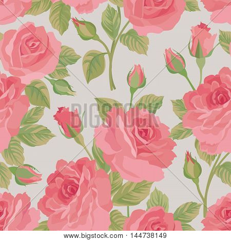 Floral bouquet seamless pattern. Flower posy background. Ornamental texture with flowers roses. Flourish garden