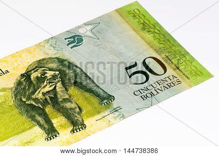 50 Venezuelan bolivares bank note. Bolivares fuertes is national currency of Brasil