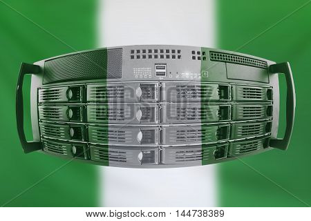 Concept Server with the Flag of Nigeria for use as local or country internet and hardware security image idea