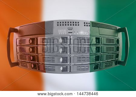 Concept Server with the Flag of Ivory Coast for use as local or country internet and hardware security image idea