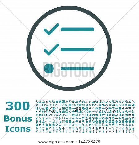 Checklist rounded icon with 300 bonus icons. Vector illustration style is flat iconic bicolor symbols, soft blue colors, white background.