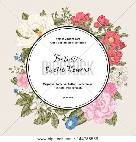 Wreath with exotic flowers. Magnolia camellia hyacinth pomegranate on gray background. Vector Vintage card.