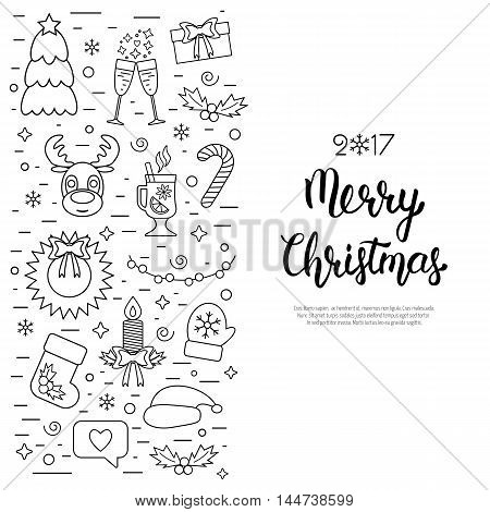 Christmas isolated concept flyer card with traditional attributes in line style with hand lettering inscription. Handwritten modern brush lettering. Flat design from linear icons. Vector illustration