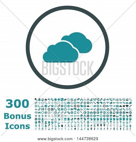 Clouds rounded icon with 300 bonus icons. Vector illustration style is flat iconic bicolor symbols, soft blue colors, white background.