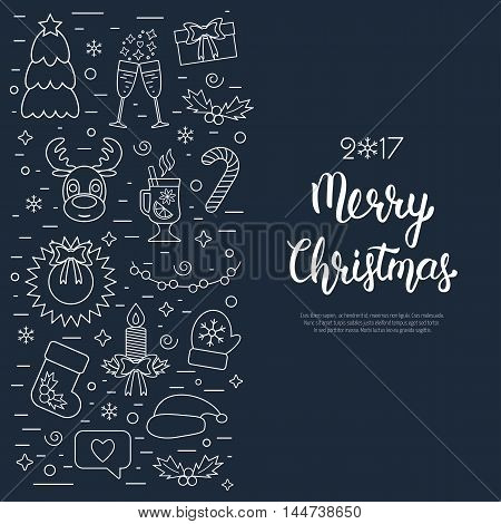 Christmas isolated concept flyer card with traditional attributes in line style with white hand lettering inscription. Handwritten modern brush lettering. Flat design from linear icons. Vector illustration