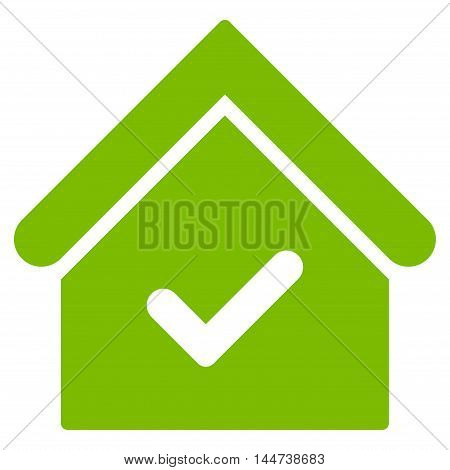 Valid House icon. Glyph style is flat iconic symbol, eco green color, white background.