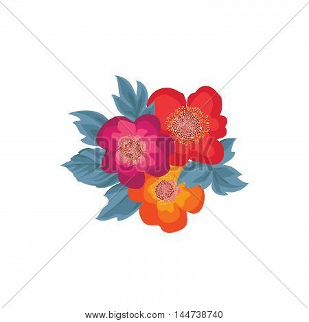 Flower posy. Floral bouquet isolated over white background. Flowers with leaves design element for flourish greeting card