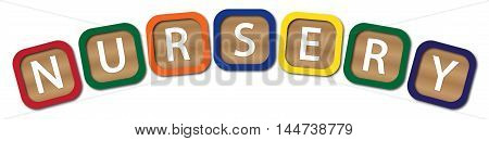 Kids blocks spelling nursery isolated on a white background