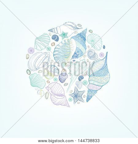 Seashell sketching pattern. Summer holiday marine background. Underwater still life decor. Resort postcard design. Vector greeting card with sea-shells sea star and sand.