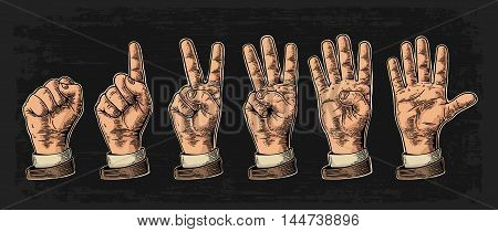 Set of gestures of hands counting from zero to five. Male Hand sign. Vector vintage engraved illustration isolated on dark background.