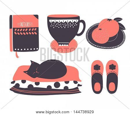Set of home-related icons, including teacup, black cat, slippers and black cat