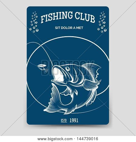 Fishing club brochure flyer template vector illustration