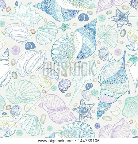 Seashell seamless pattern. Summer holiday marine background. Underwater ornamental textured sketching  with sea shells, sea star and sand.