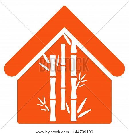 Bamboo House icon. Glyph style is flat iconic symbol, orange color, white background.
