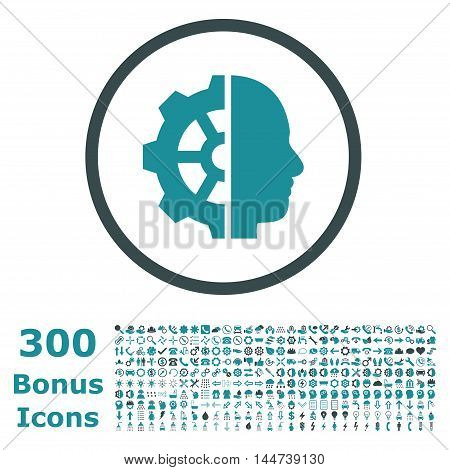 Cyborg Gear rounded icon with 300 bonus icons. Vector illustration style is flat iconic bicolor symbols, soft blue colors, white background.