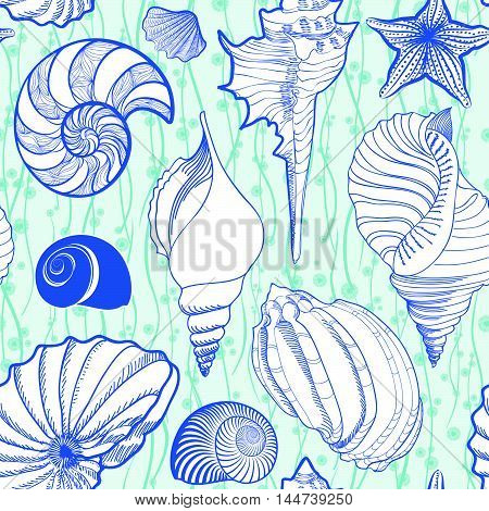 Seashell seamless pattern. Summer holiday marine background. Underwater ornamental textured sketch with sea shells sea star and sand.