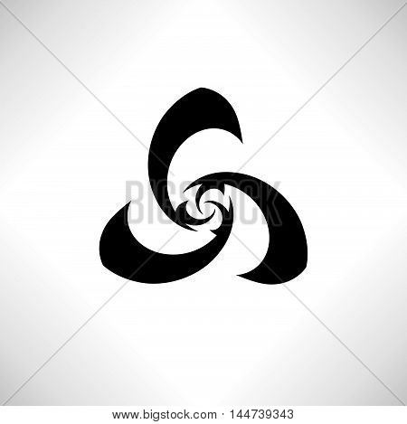 Geometrical abstract stylish logo design elemnt. Vector stylzed flower insignia. Morden design of floral fan icon.