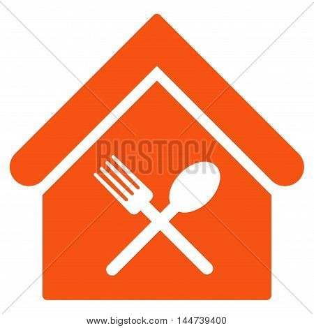 Food Court icon. Glyph style is flat iconic symbol, orange color, white background.