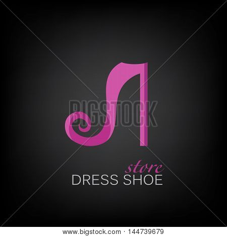 symbol of dress shoes pink color on a black background. This logo is for a shoe store or a shoe factory