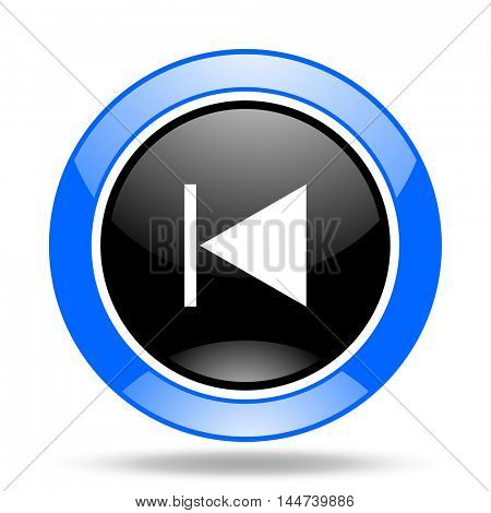 prev round glossy blue and black web icon