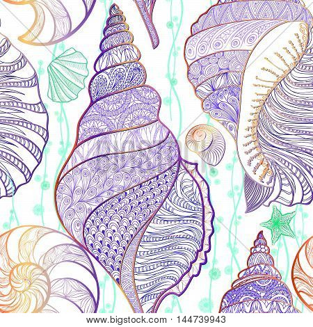 SeaShell seamless pattern Underwater sea tiled background Summer Holiday Vector Background with Seashells Sea Star and Sand. Hand Drawn Etching Style Marine life ornament