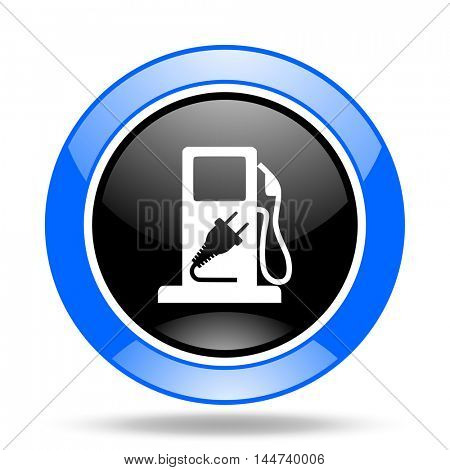 fuel round glossy blue and black web icon
