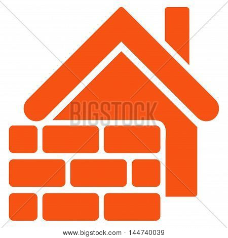 Realty Brick Wall icon. Glyph style is flat iconic symbol, orange color, white background.