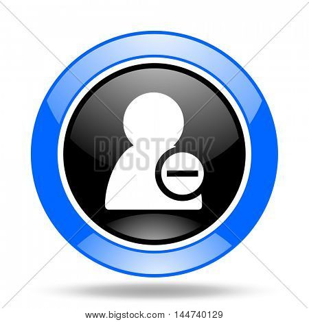 remove contact round glossy blue and black web icon
