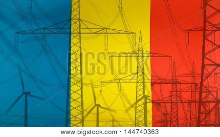 Concept Energy Distribution Flag of Romania merged with high voltage power poles