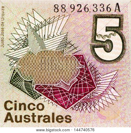 5 Argentinian austral bank note. Argentinian austral is the former currency of Argentina