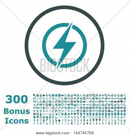 Electricity rounded icon with 300 bonus icons. Vector illustration style is flat iconic bicolor symbols, soft blue colors, white background.