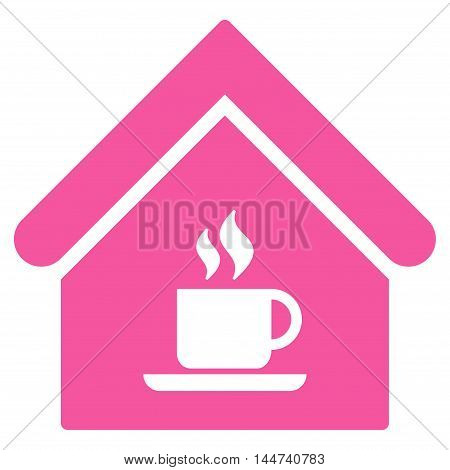 Cafe House icon. Glyph style is flat iconic symbol, pink color, white background.