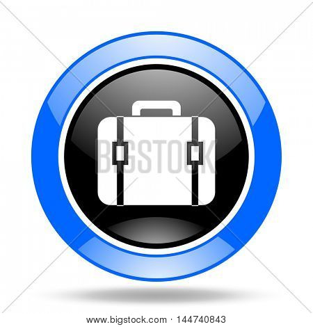 bag round glossy blue and black web icon