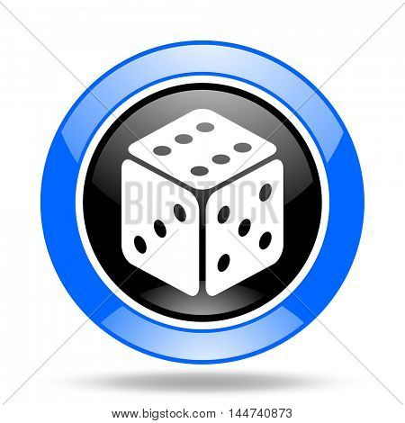 game round glossy blue and black web icon