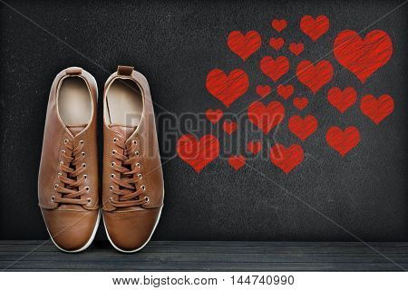 Love concept text on black board and shoes